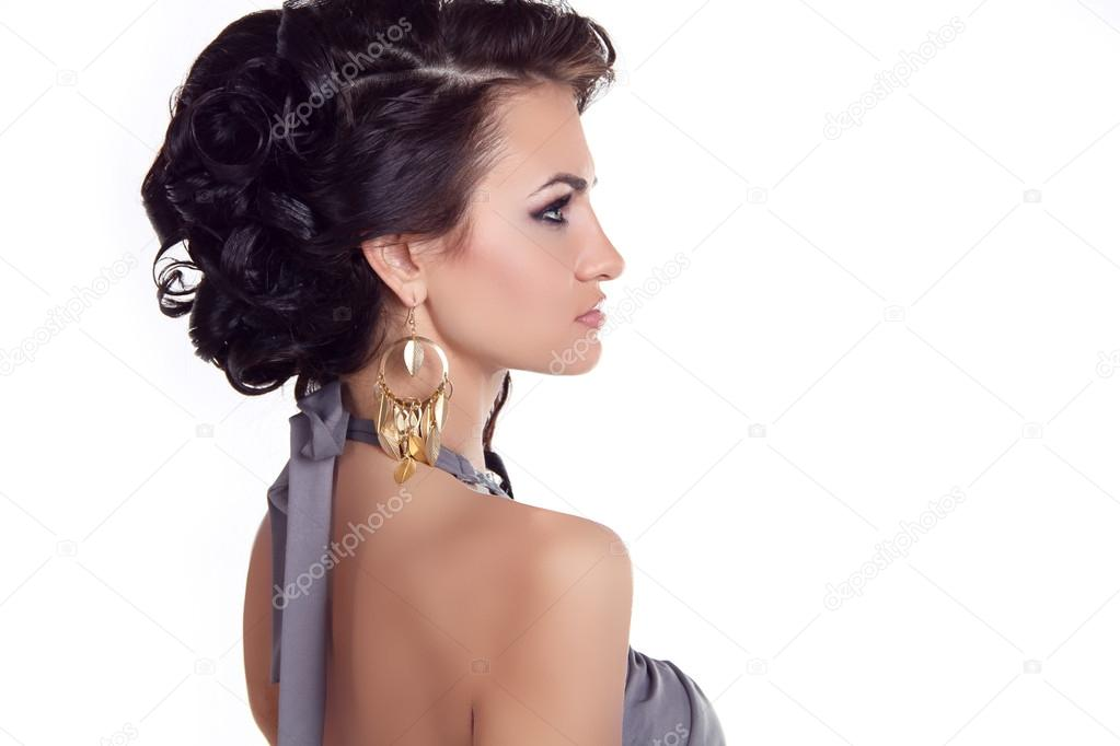 Acconciatura Bellezza Donna Con Lunghi Capelli Neri Acconciatura