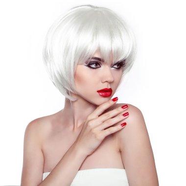 Red lips and manicured nails. Fashion Stylish Beauty Woman Portr