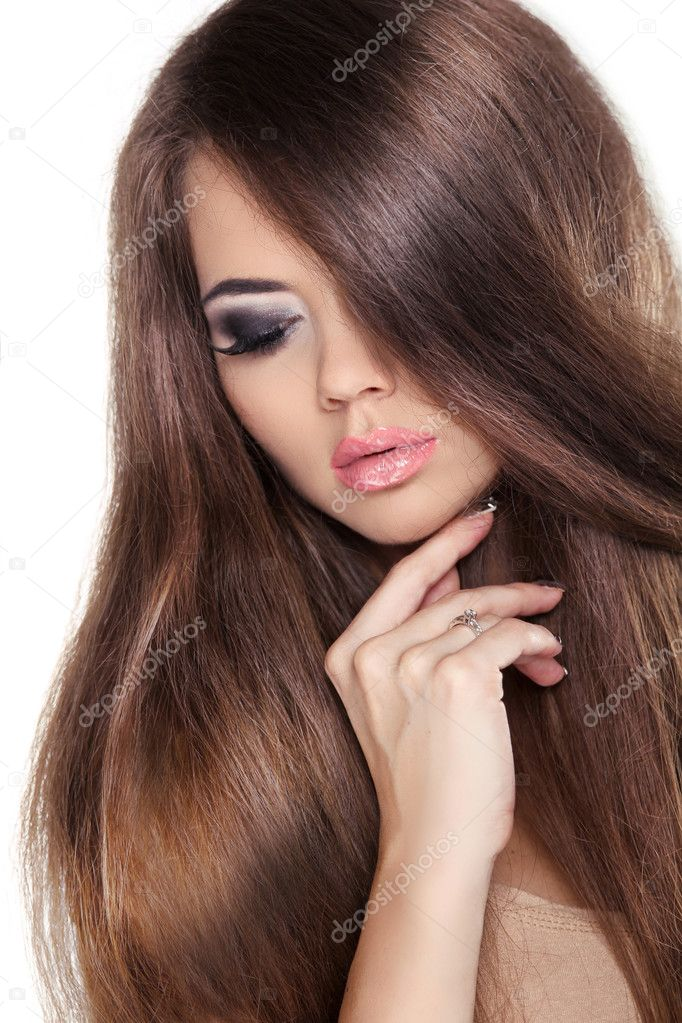 Каштановые длинные волосы