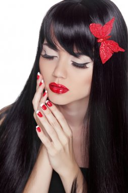 Fashion Beauty Girl. Gorgeous Woman Portrait. Long black hair an