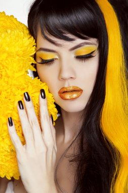 Beauty Girl Portrait with Colorful Makeup, Long Hair, Nail polis