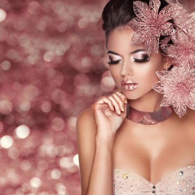 Beautiful Girl With Pink Flowers. Beauty Model Woman Face. Isola