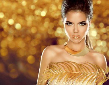 Fashion Beauty Girl Isolated on golden bokeh Background. Makeup. Gold Jewelry. Hairstyle. Vogue Style. stock vector