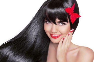Beautiful Brunette Woman with Healthy Long Black Hair. Beauty Gl