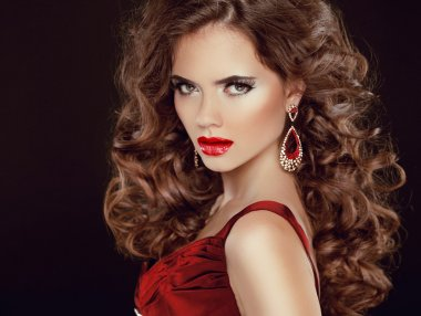 Red sexy lips. Stare. Beauty Brunette Girl Model with luxurious