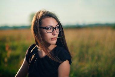 Brunette in glasses