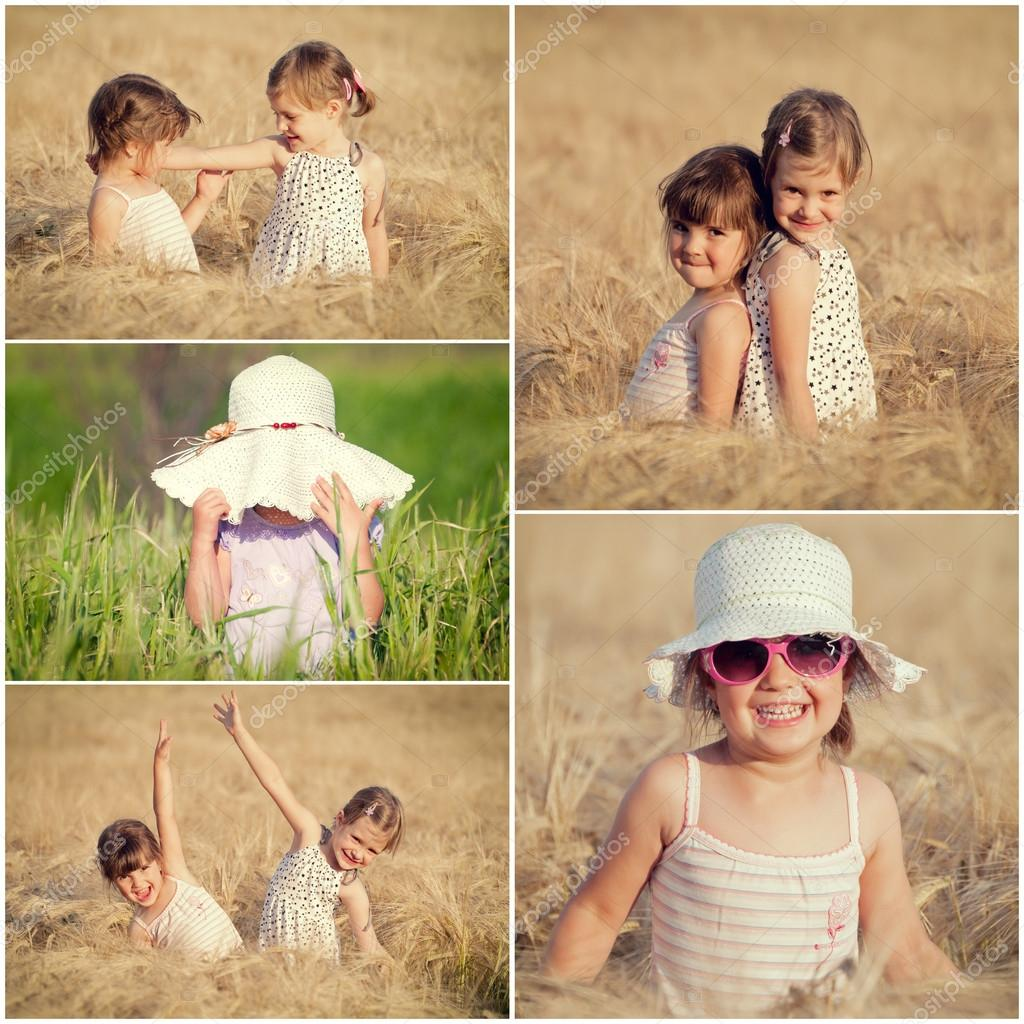 Children in the wheat collage
