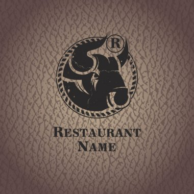 Head of bull. Template design restaurant.