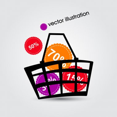 Basket and multicolored discounts. Vector illustration.