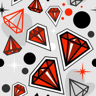 Fashionable seamless pattern with red jewels