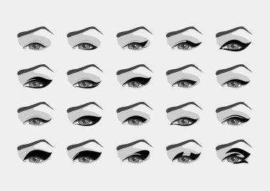 Vector female eyes with various eyeliner