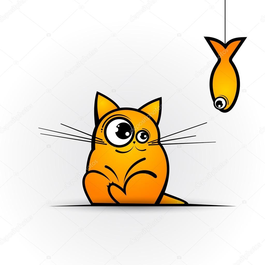 funny cat and fish vector illustration u2014 stock vector napev