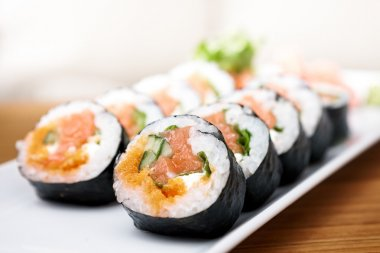 Salmon and caviar rolls