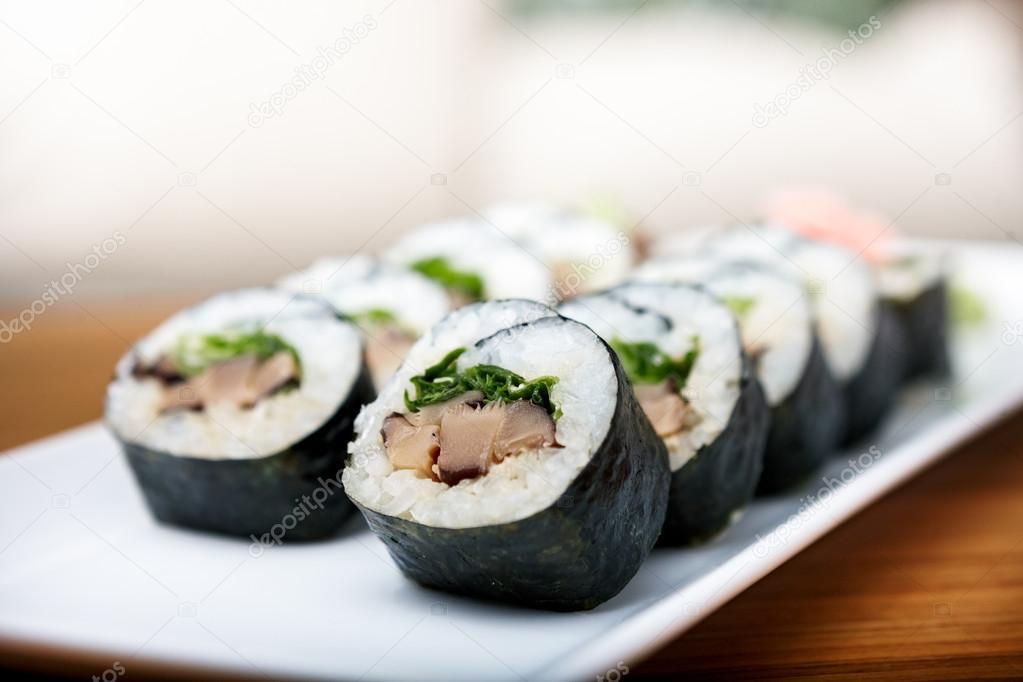 Rolls with shiitake mushrooms
