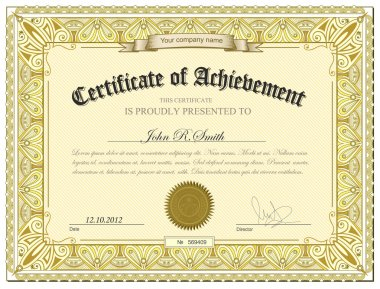 Gold detailed certificate