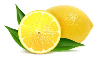 Vector illustration of fresh lemons with leaves stock vector