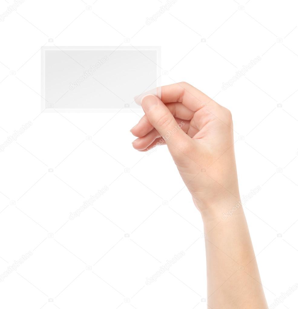 Holding transparent blank business card — Stock Photo © bloomua ...