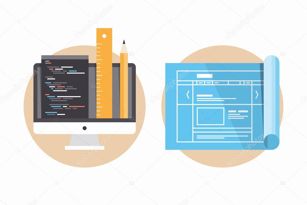 Website programming and development icons stock vector bloomua flat design modern vector illustration icons set of website programming and coding web page blueprint and development project process malvernweather Images