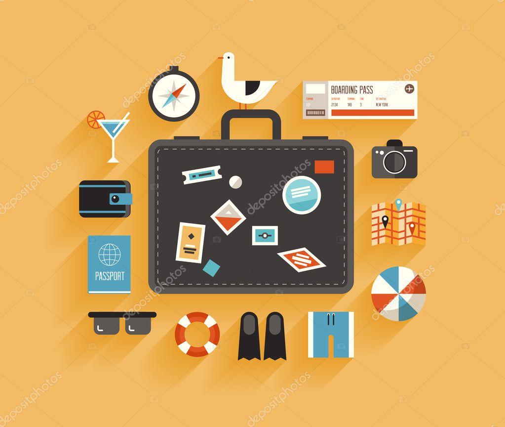 Concetto di design piatto di viaggi e vacanze vettoriali for Concetto di design moderno bungalow