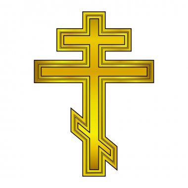 Religious orthodox gold cross icon