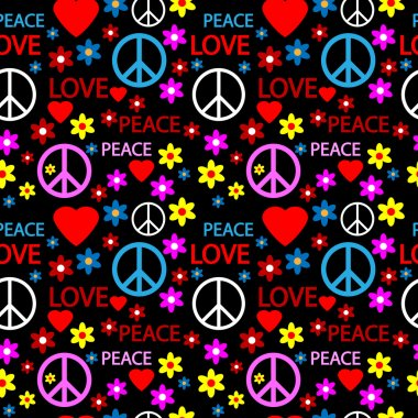 Seamless pattern with symbols of the hippie