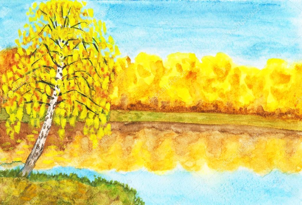 Sonbahar Yakın Göl Huş Ağacı Boyama Stok Foto Afonskaya 14080613