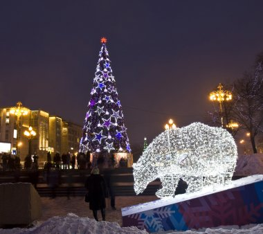 Electric bear and Christmas tree