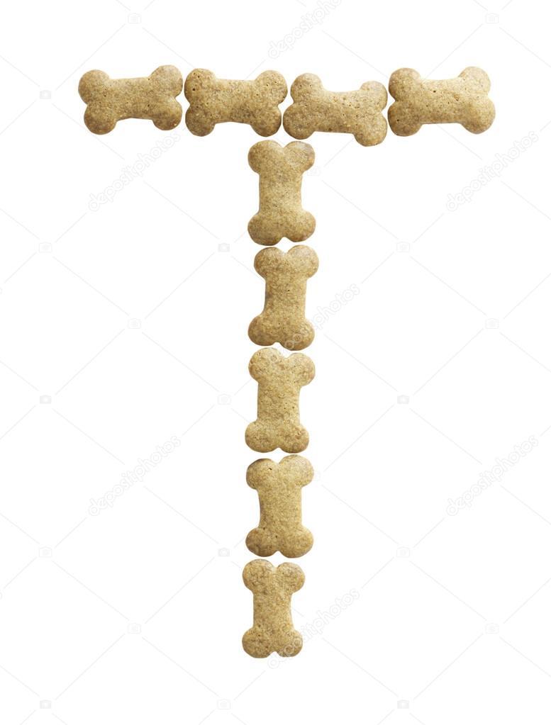bone shape dog food letter t stock photo