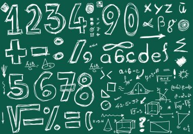 School Doodle numbers and mathematical symbols