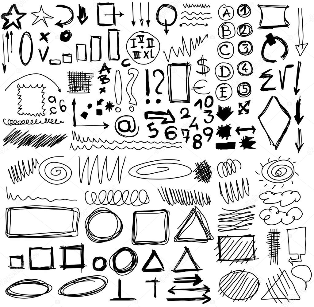 Set hand drawn shapes, circle, square, triangle, numbers, line