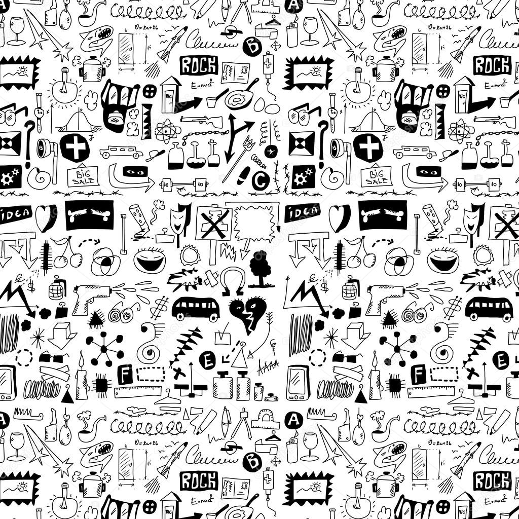 Big set simplified design elements doodle icons, hand drawn background