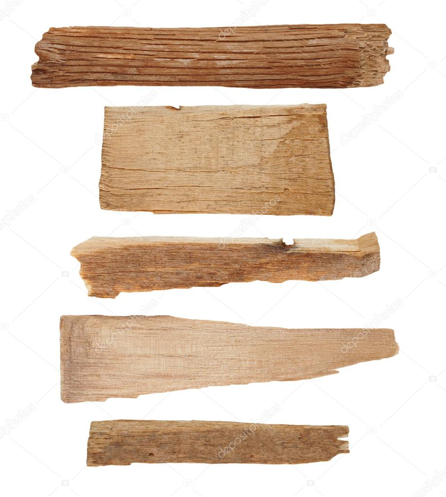 Collection pieces of broken planks isolated on white, with clipping path