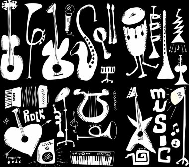 Doodles musical instruments funny music isolated on black, hand drawn
