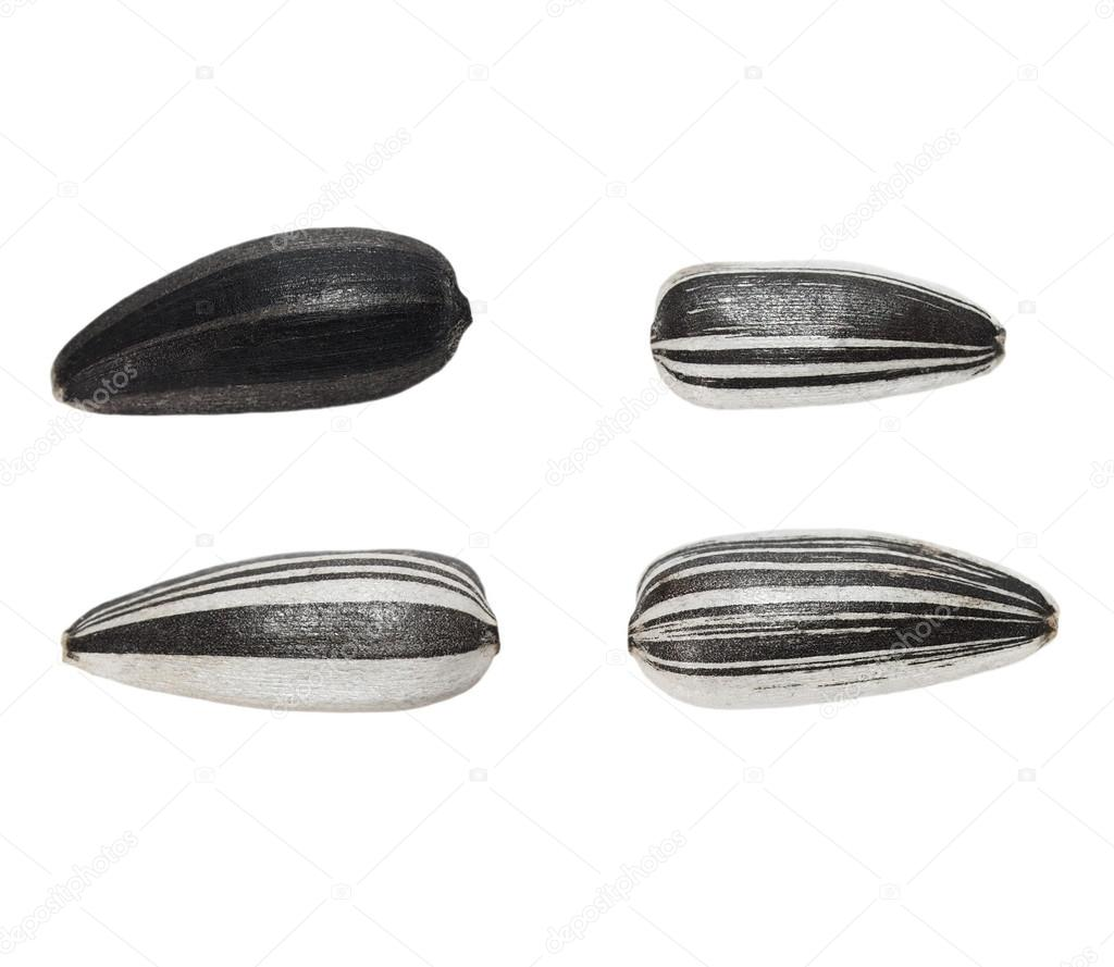 Sunflower seeds isolated on white background, (with clipping path)