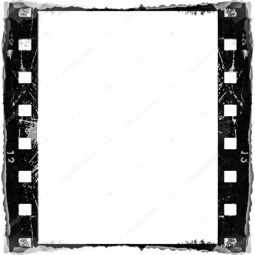 Old blank frame film strip isolated on white background, design ...