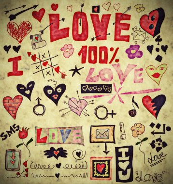 Love doodle retro set, design elements, paper texture background