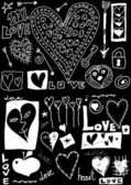 Concept love doodles, hand drawn design elements isolated on black