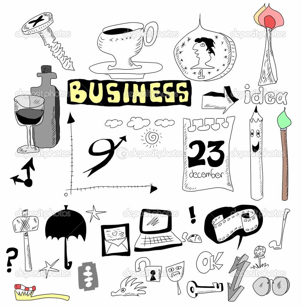 Doodle set business icons, hand drawn isolated on white