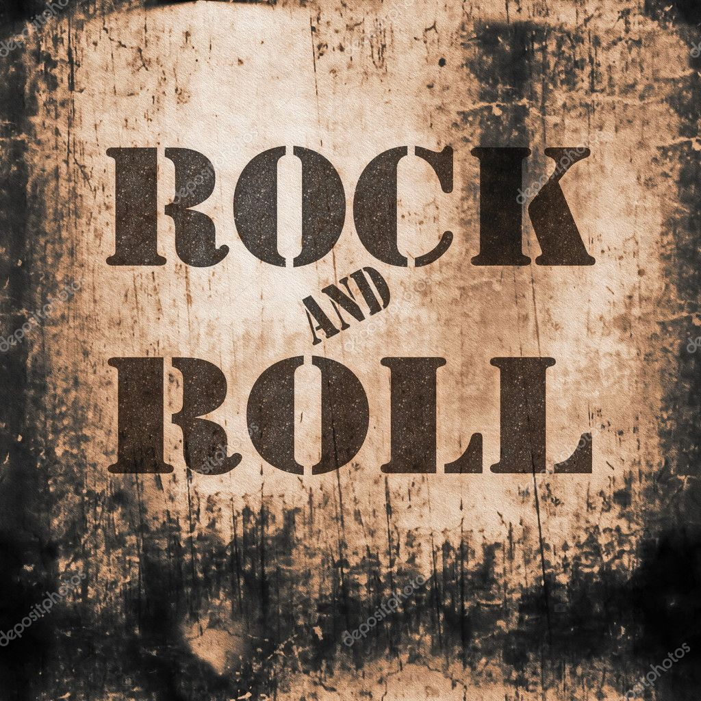 Rock and roll music, old rusty wall backgrounds and texture