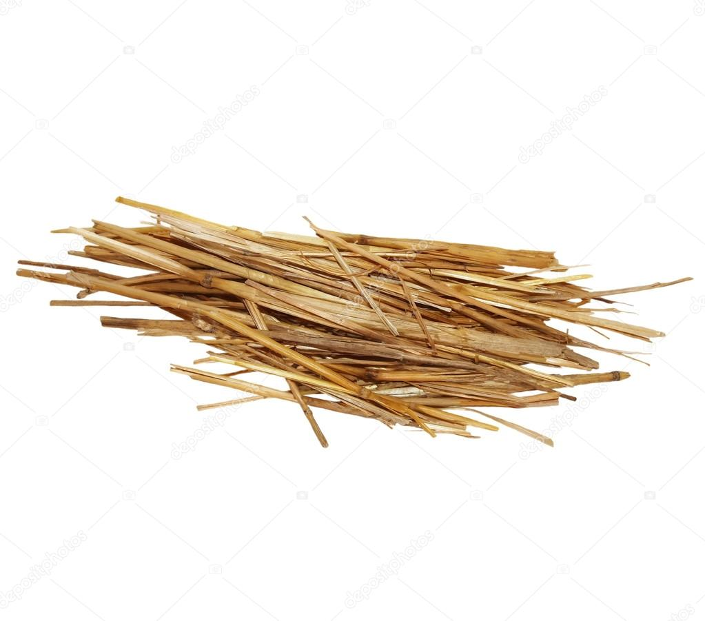 Pile straw isolated on white background, with clipping path