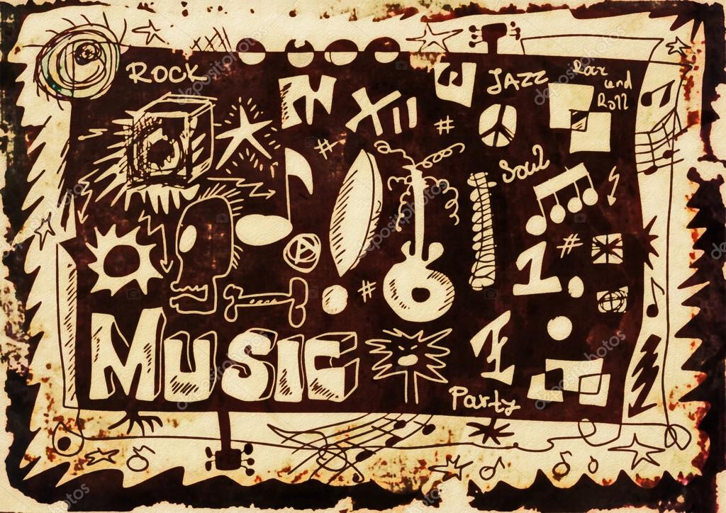 Doodle Music Background Hand Drawn Color Grunge Design Elements Photo By Dusan964