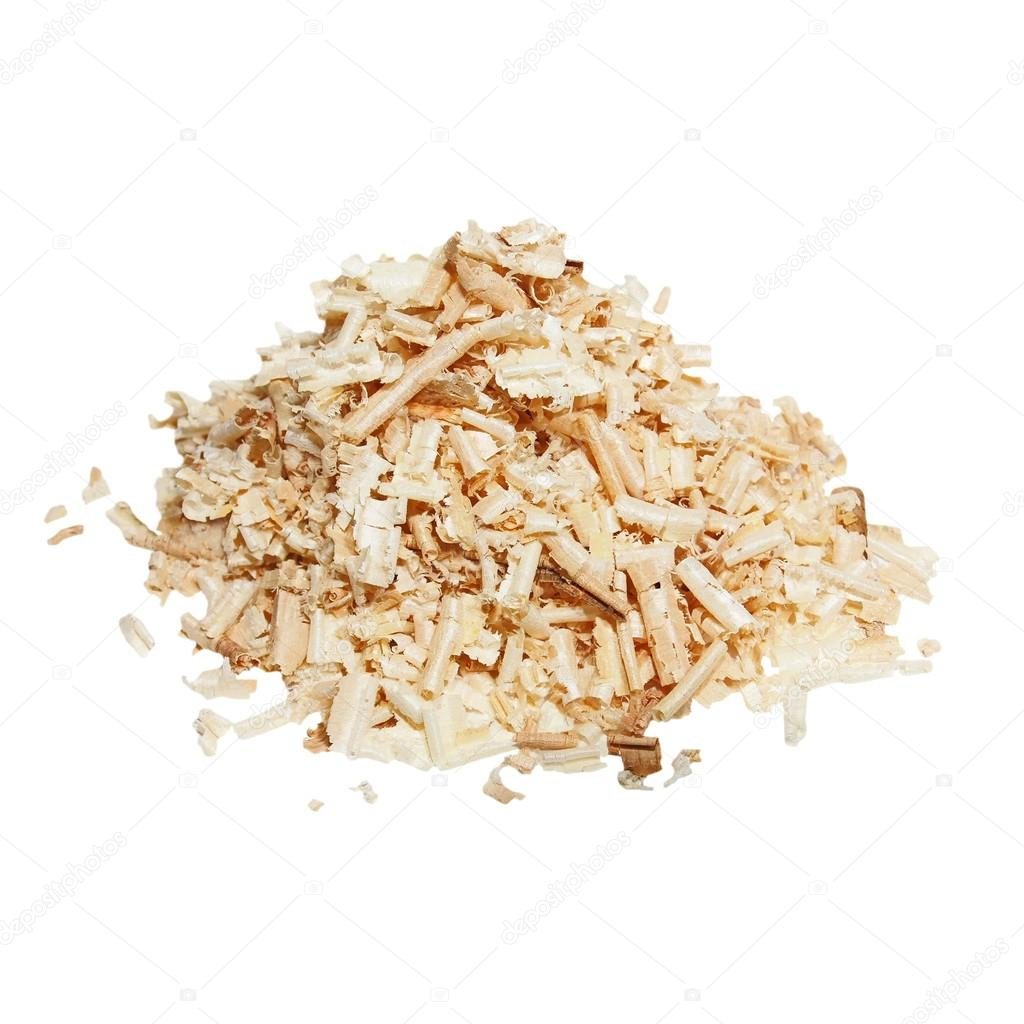 Pile wood shavings background isolated on white
