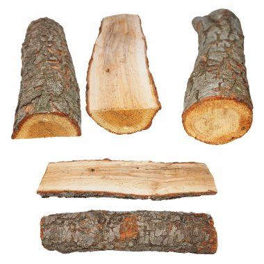 Set log fire wood isolated on white background with clipping path