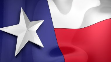 Reflective 3D rendering of the state flag of Texas