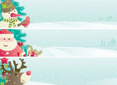 Vector banners with Santa Claus, snowman, Red-Nosed Reindee, branches of fir tree and christmas decoration on winter snow landscape clip art vector