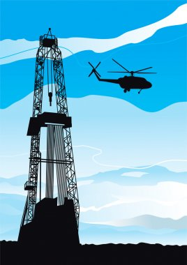 Drilling rig and helicopter
