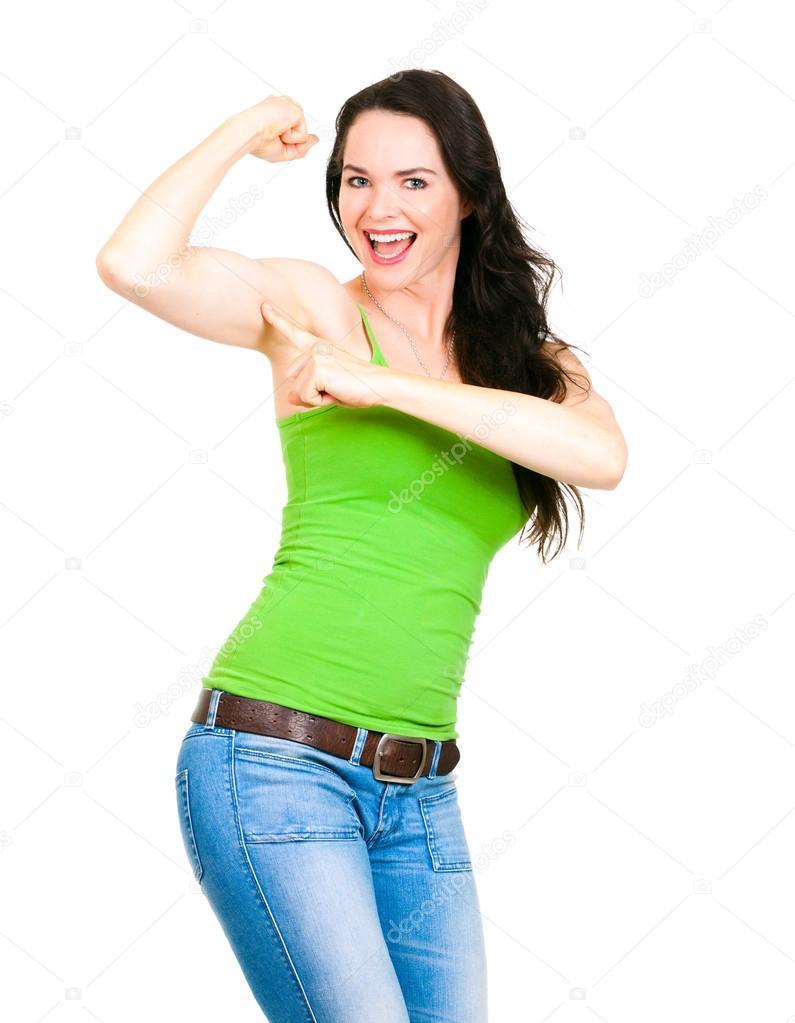 una mujer feliz forma apuntando a flexión del músculo — Foto de ...