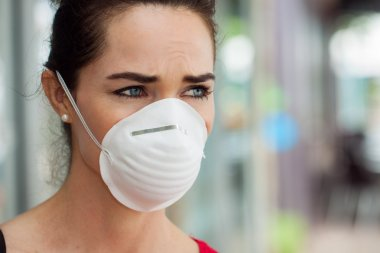 Close-up of a woman in the city wearing a face mask to protect herself from infection or air pollution. stock vector