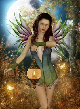 Fairy with lanten and moon