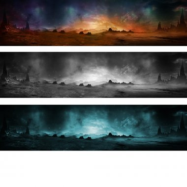 Panorama landscape about other planet